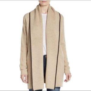 Vince Leather Trim Wool Blend Car Coat Cardigan